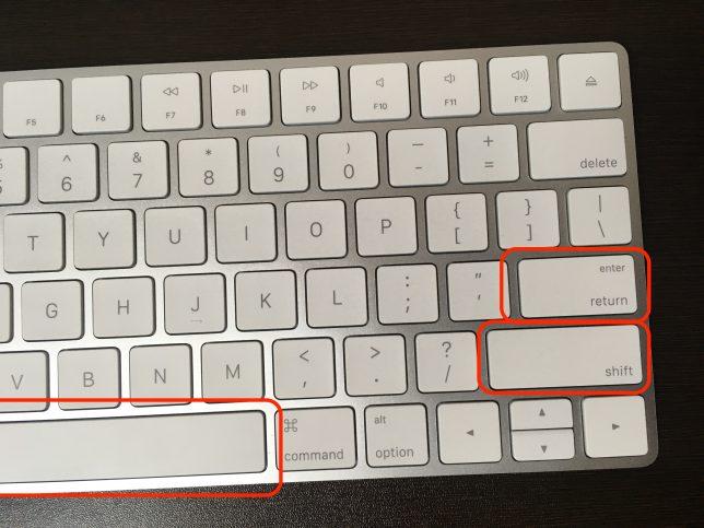 USキーボードの各キーの形状