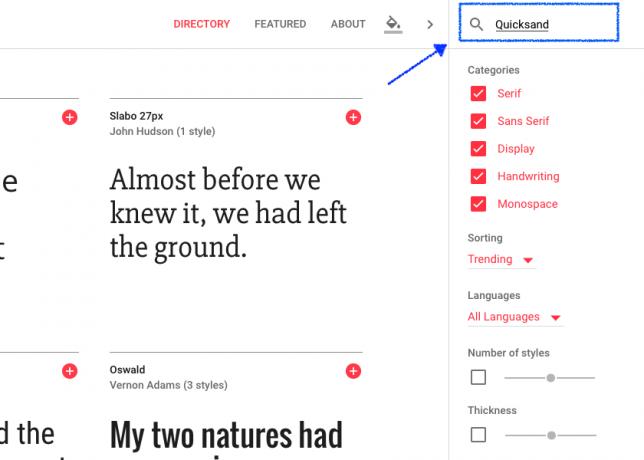 google fonts検索画面