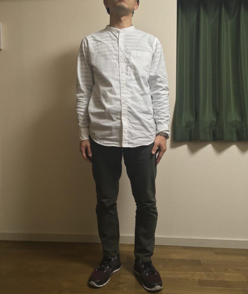 ユニクロスタンドカラーシャツ白Mサイズ