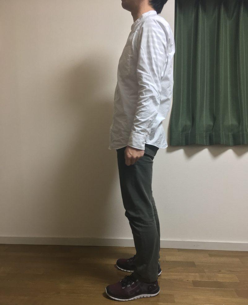 ユニクロスタンドカラーシャツ白サイド