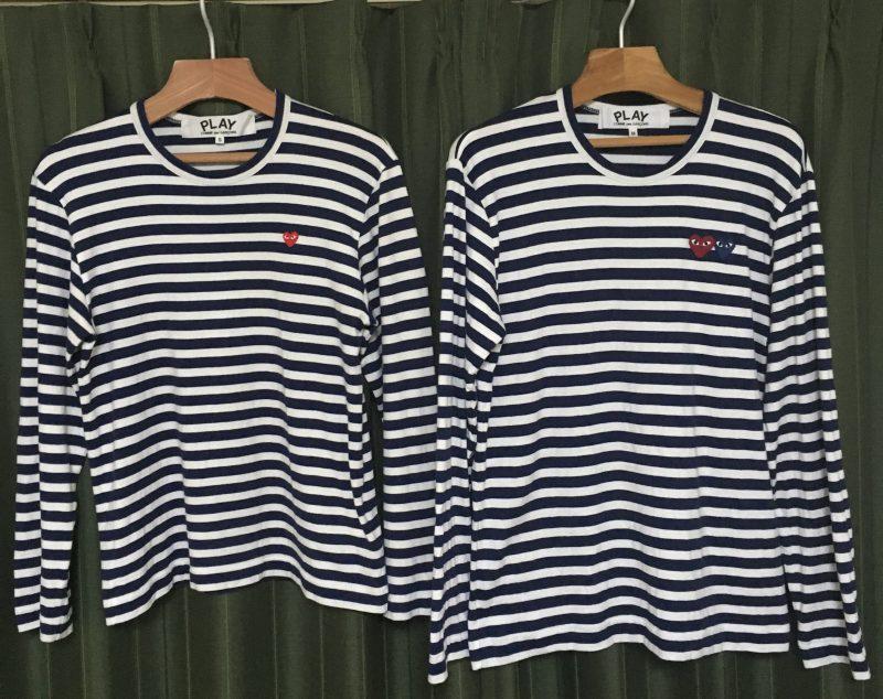 プレイコムデギャルソンTシャツのSサイズとMサイズを並べて