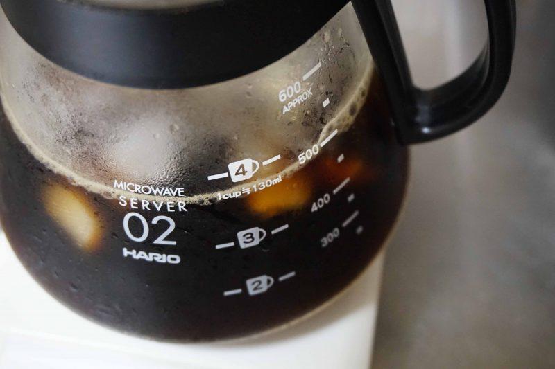 ドリップ後のアイスコーヒー