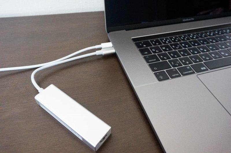 USB-CハブをMacBookProに接続